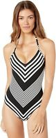 La Blanca Women's 182886 V-Neck Halter One Piece Swimsuit Size 16