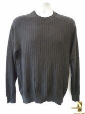 DISSIDENT Mens Size M Black Textured Long Sleeve 100% Cotton Crew Neck Jumper