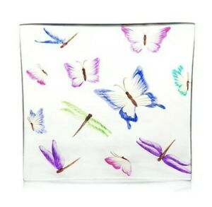 NEW Beautiful YANKEE Candle BUTTERFLY Crackle GLASS Tray -PINK Blue PURPLE Green