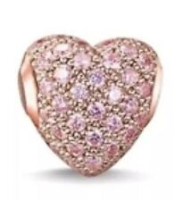 Hermosa Rosa cristales de la CZ chapado en oro Rosa Pave amor corazón encanto para pulseras
