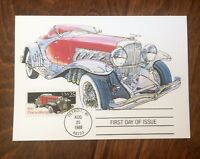 US STAMPS 1935 DUESENBERG CLASSIC CAR FIRST DAY ISSUE MAXIMUM CARD 1988 Dr Jim