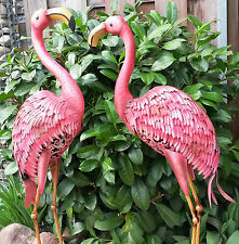 Flamingo 2er Set Gartenfigur Metall Figur bunt Tier Vogel Deko Teich  Höhe 97cm