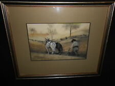 Painting South Carolina Antique M A Phillips Farmer Plowing Horses Wooden Fences