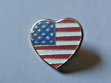 Vintage Heart shaped American Flag hat lapel pin