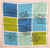 Vintage Designer Hankie Ann McCann Maple Leaves Blue Green Squares
