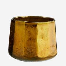 Gold Candle Holder, Oxidised Glass Rustic Planter, Small Votive Pot, Tea Light