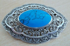 925 STERLING SILVER HUGE MARCASITE & BLUE TURQUOISE BROOCH / PENDANT
