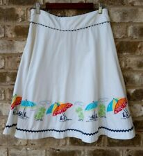 Liz Claiborne Womens SZ 8 White Skirt A Line 100% Cotton Umbrella Print Casual