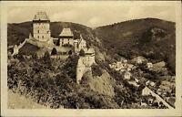 Hrad Karlštejn Burg Karlstein Tschechien s/w AK 1951 Blick auf die Burg Umgebung