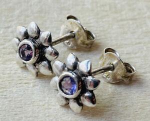 Silver and amethyst stud earrings