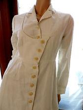 ROBE MANTEAU  BLANC   COTELAC  T 38/40 / VINTAGE COAT DRESS