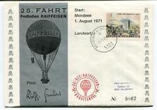 1971 Ballonpost Special Pro Juventute Aerostato OE-DZC Raiffeisen 25 fahrt PIlot