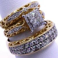 3Pcs/set 18k Gold Filled White Topaz Ring Wedding Party Jewelry Anniversary Gift