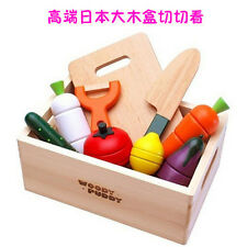 Wooden Vegetables Fruit Cutting Toy Kids Kitchen Cooking Play Set Magnetic gift