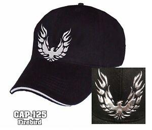 Pontiac Firebird Trans Am Hat Cap - Black W/ Liquid Metal Firebird Emblem / Logo