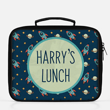 Personalised Rocket Ship Space Boys Lunch Box Lunch Cooler Sandwich School Bag