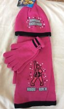 BNWT Girls Adams Pink Hannah Montana Hat Gloves and Scarf Set - Age 7 - 10
