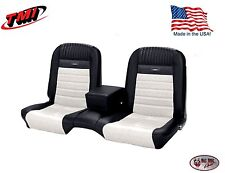 Deluxe PONY Seat Upholstery Ford Mustang Coupe Front/Rear Bench - Black & White