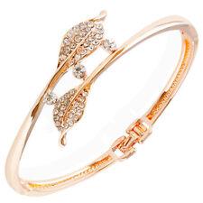 UK Lovely Rose gold plated Crystal Rhinestone leaf bracelet Purple Gift 1198