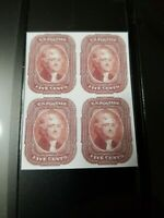 US Stamps SC #12 1856 5C Jefferson Block Facsimile Copy Place Holder