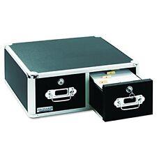 Vaultz Locking 4 x 6 Index Card Cabinet, Double Drawer, Black (VZ01395) TAXFREE
