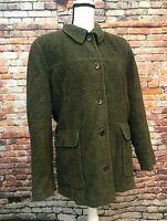 LL Bean Women's Olive Green Wool Blend Coat Jacket, Pockets, Lined, Size Reg XL