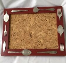 Country Kitchen Cork Board Rustic Handcrafted With Silverware Motif