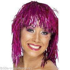 Women's Pink 70's Cyber Tinsel Fancy Dress Wig Gaga Music Boogie Disco Hen Theme