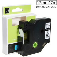 12mmx7m Plastic Label Maker Tape Cartridge For Dymo D1 45013 Black On White