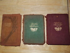 Antique Rare Lot of 3 Soft Leather Cover Books Spiritual, Adresses, Emerson