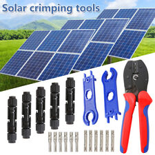 MC4 Solar Crimp Tool Connector Spanner + PV Crimper Wire Stripper Crimping Set