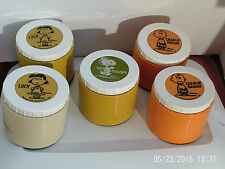 Peanuts Character Thermos JarS 1969 Lot of 5 Charlie Snoop Lucy Vintage #1155Ufs