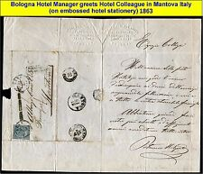 ITALY 1863 VERY OLD EMBOSSED BUSINESS LETTER with collector high value stamp (1)