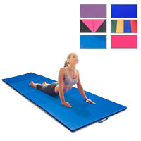 Portable PU Leather Exercise Gym Mat Stretching Yoga Sport Tumbling Pad 4 Panel