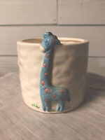 Vintage LEFTON Blue Giraffe Ceramic Planter Vase Japan 1986 Geo. Z Lefton