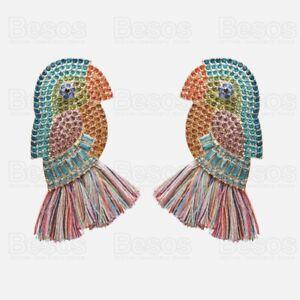 7cm HUGE CRYSTAL PARROT EARRINGS large bird GOLD TONE MULTI TASSEL statement UK