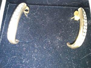 9ct Gold Diamond Half Hoop Earrings Blck box only worn a few times pierced ears