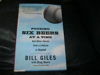 Pouring Six Beers at a Time Book Autographed by Bill Giles  JSA Auc Certified