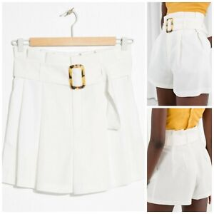 NWOT & Other Stories White Linen Cupro High Waist Belted Paperbag Shorts US 0
