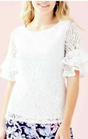 New NWT Lilly Pulitzer $108 Lula Top Sea Swirling Lace Resort White Size XS