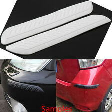 2Pc Car Rubber Bumper Corner Protector Door Guard Cover Lip Crash Bar Trim White