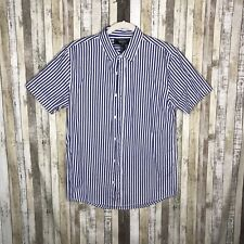 Forever 21 Men's Blue/White Striped Woven Button Down Collared Shirt SZ S~NWT
