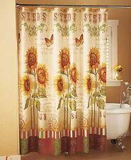 Fabric Shower Curtain-Sunflowers & Butterflies-BAthroom Decor-Brand New