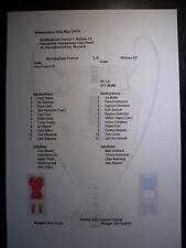 Nottingham Forest Final Copa Europea de 1979 V Malmo FF matchsheet