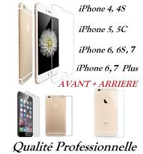 Vitre protection VERRE Trempé AVANT + ARRIÈRE face et dos iPhone 4, 5, 6, 7, 6+