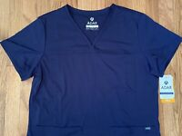 NEW Adar Pro Scrubs XL Navy Blue Women's Sweetheart V-Neck Tailored Fit Top Med