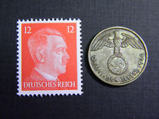 Authentic German Stamp WORLD WAR 2 and Antique German 2 pf Coin