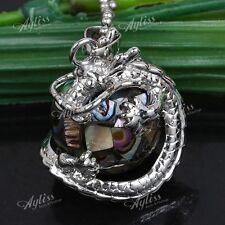 1pc Natural Abalone Shell Dragon Wrap Ball Bead Gemstone Jewelry Pendant Gift