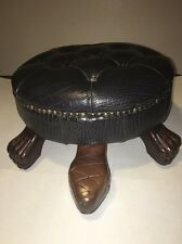 Turtle Design Ottoman Foot Stool Textured Upholstered Wood Accents- Home Decor