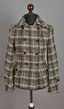 Women's KAREN MILLEN Short Double Breasted Coat Wool/Nylon Brown Checked Size 10